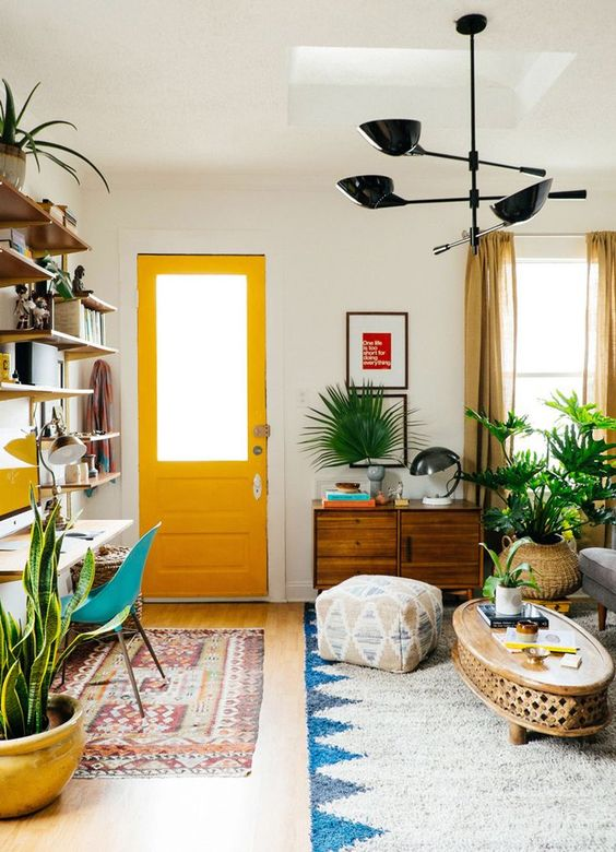 Yellow decor accents in a small space