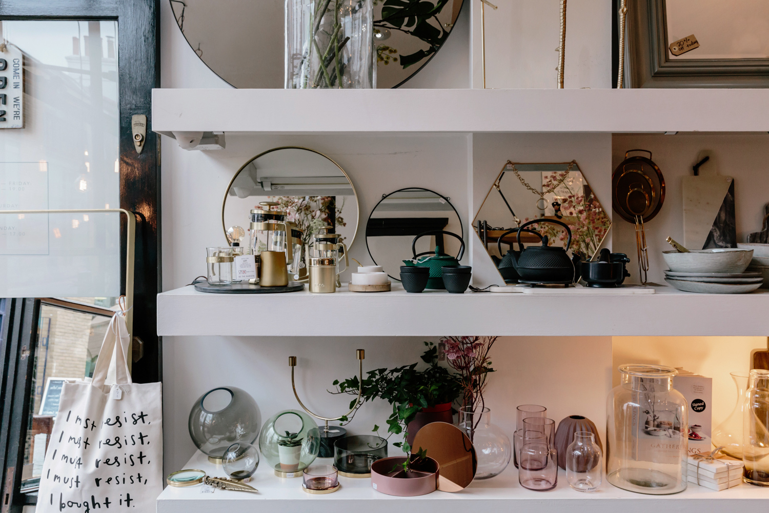 Shelves stocked with homewares at HAYGEN