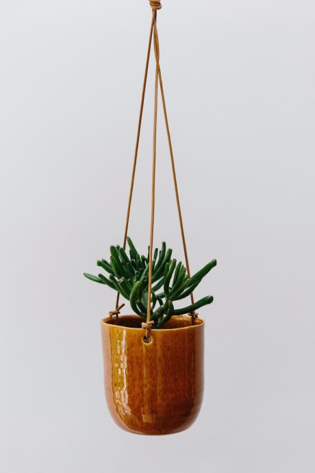 A burnt orange hanging planter with plant