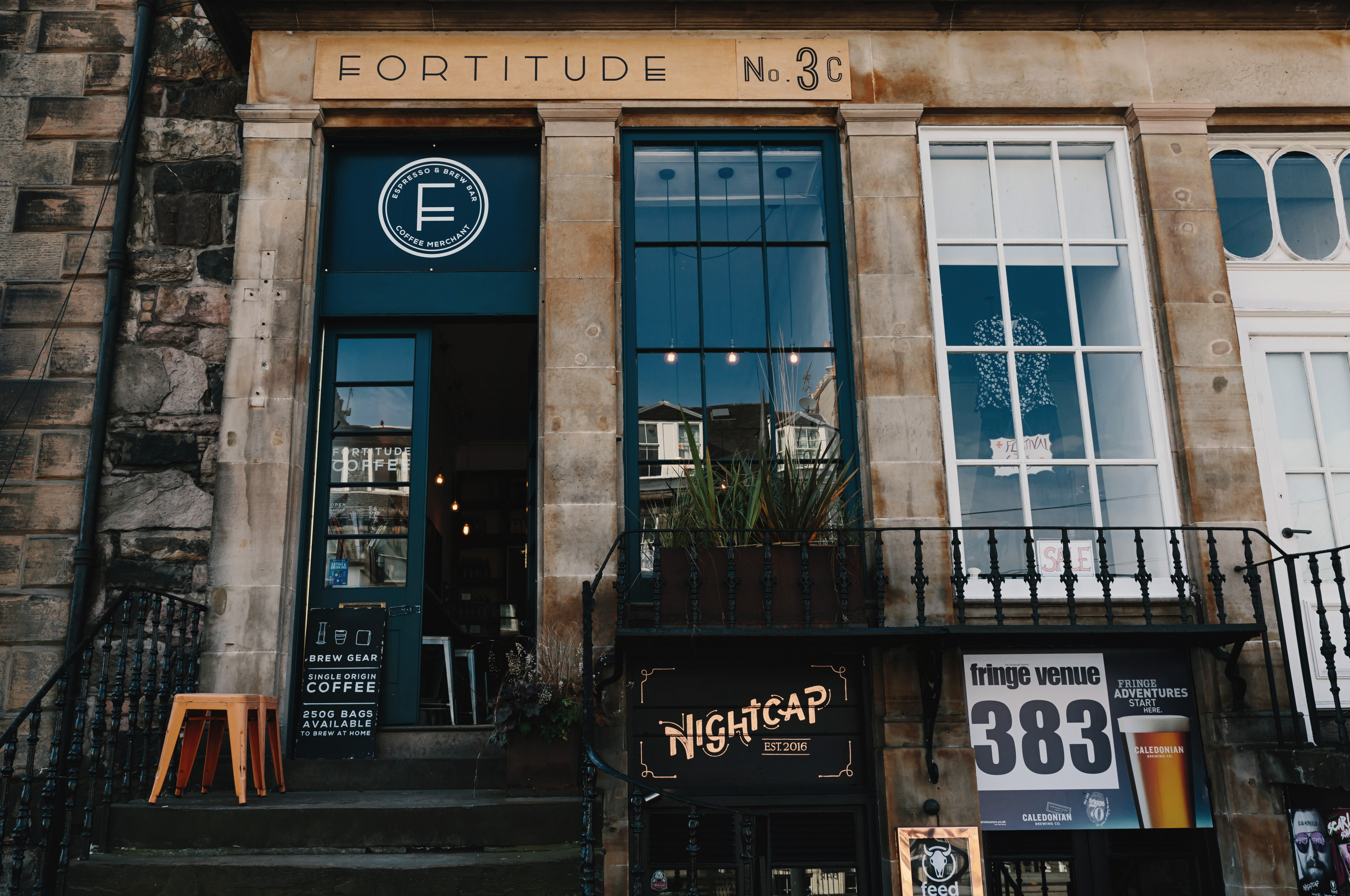 The front of Fortitude, one of Edinburgh's best coffee shops