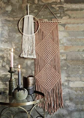 Macrame wall hangings in 1970's style